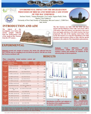 ENVIROMENTAL IMPACT ON THE DEGRADATION PROCESSES OF BRICKS AND MORTARS: CASE STUDY OF THE BAC FORTRESS