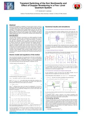 Transient Switching of the Kerr Nonlinearity and Effect of Doppler Broadening in a Five – Level Quantum System