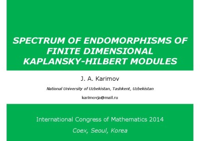 Spectrum of endomorphisms of finite dimensional Kaplansky-Hilbert modules